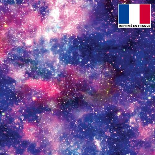 Lycra imprimé galaxie constellations bleu et rose