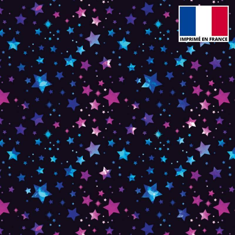Lycra noir imprimé étoiles bleues et violettes