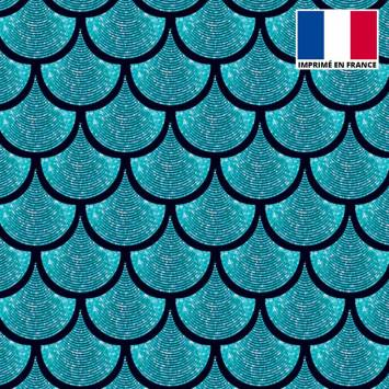 Lycra imprimé écailles scintillantes bleues