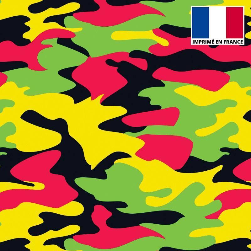 Lycra imprimé militaire rose jaune et vert