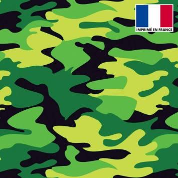 Lycra imprimé militaire vert et noir