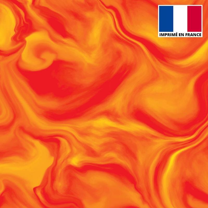 Lycra imprimé magma orange