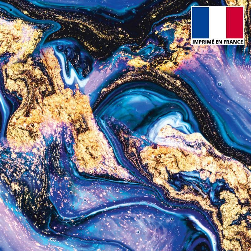 Lycra imprimé magma noir et bleu poudre d'or