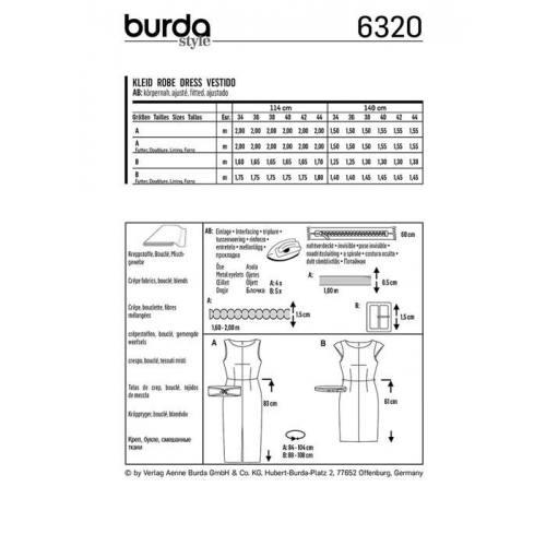 Patron Burda 6320 : Robe Taille : 34-44