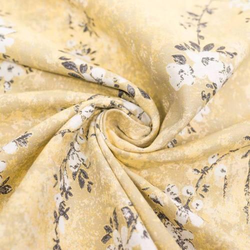 Jacquard jaune motif fleurs de pommier blanches