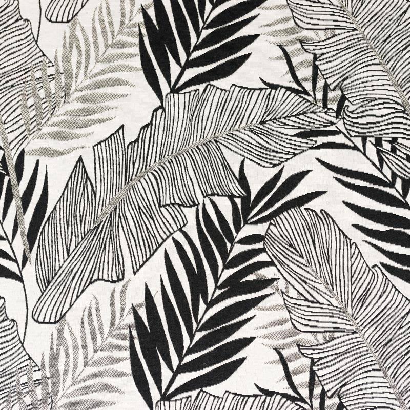 Jacquard blanc cassé motif jungle noir