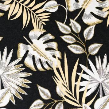 Jacquard noir motif feuilles tropicales jaunes et blanches