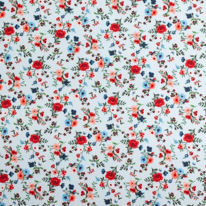Tissu scuba bleu pastel imprimé petite fleur