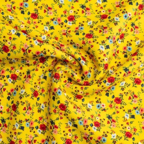 Tissu scuba jaune imprimé petite fleur