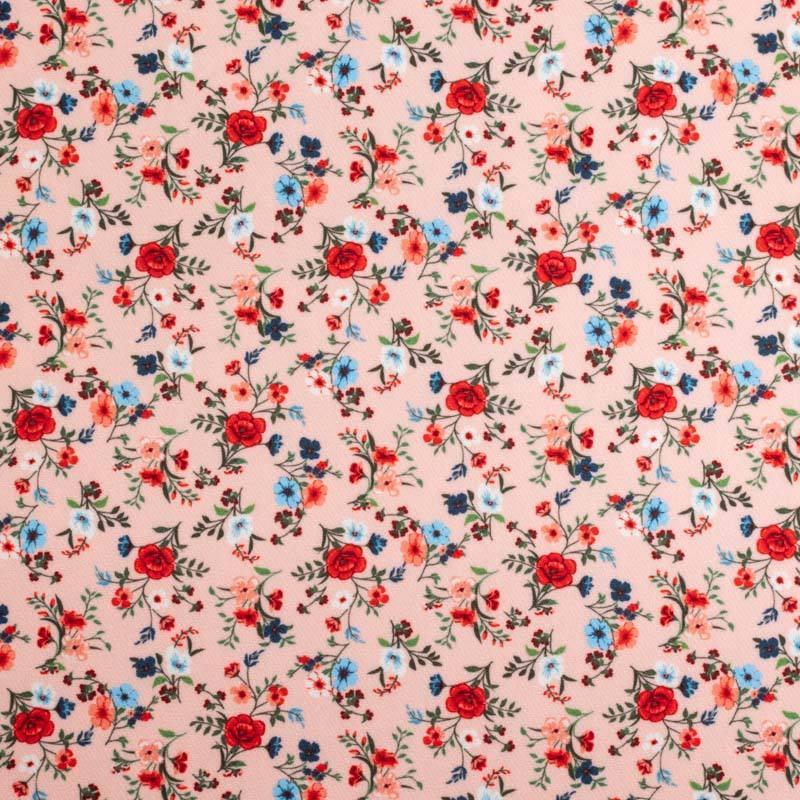 Tissu scuba rose pastel imprimé petite fleur