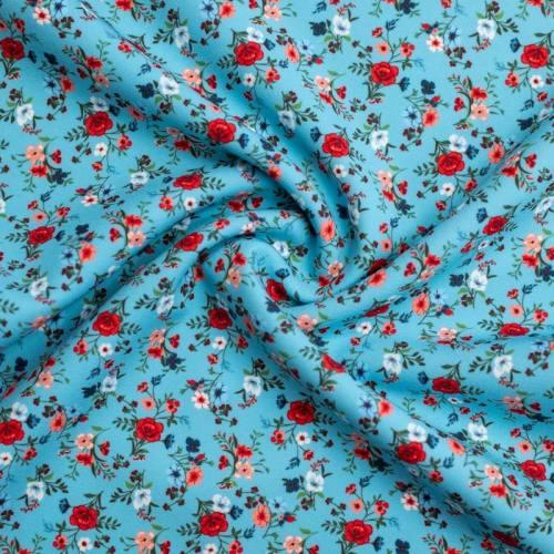 Tissu scuba bleu lagon imprimé petite fleur
