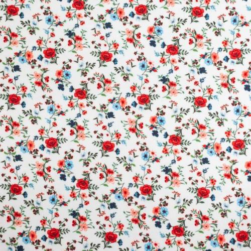 Tissu scuba blanc imprimé petite fleur