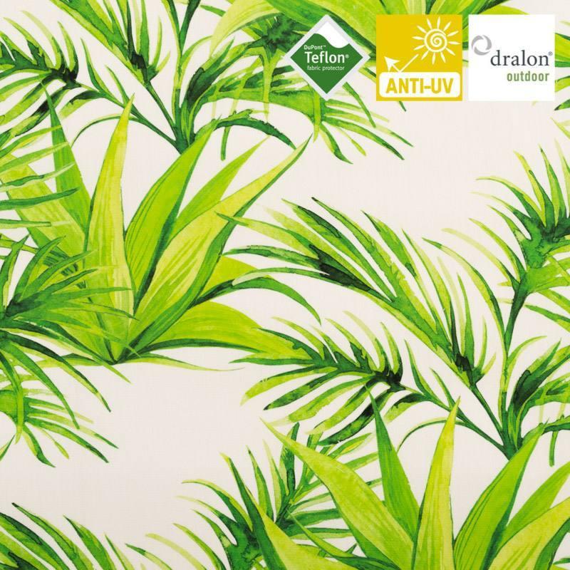 Toile extérieure Téflon blanche motif jungle effet aquarelle vert