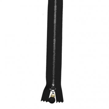 Fermeture 30 cm métal noire avec tirette perle