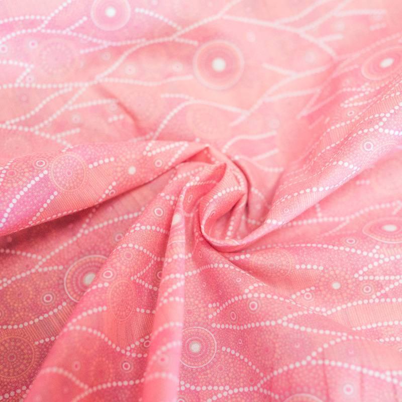 Coton rose motif japonais