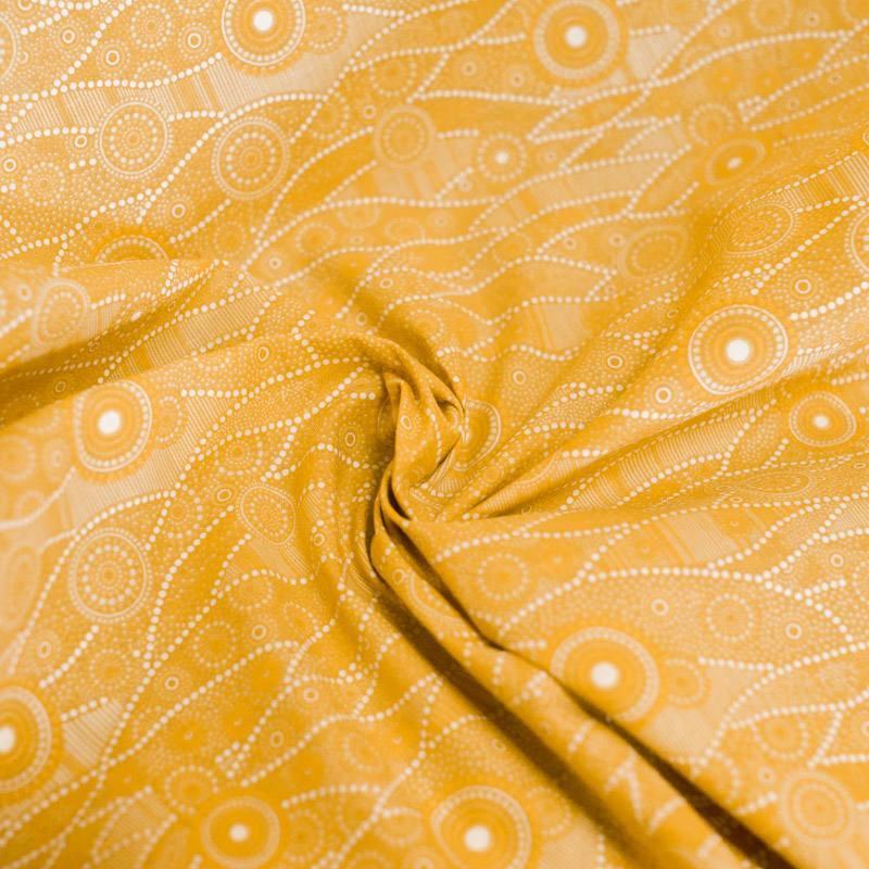 Coton ocre motif japonais