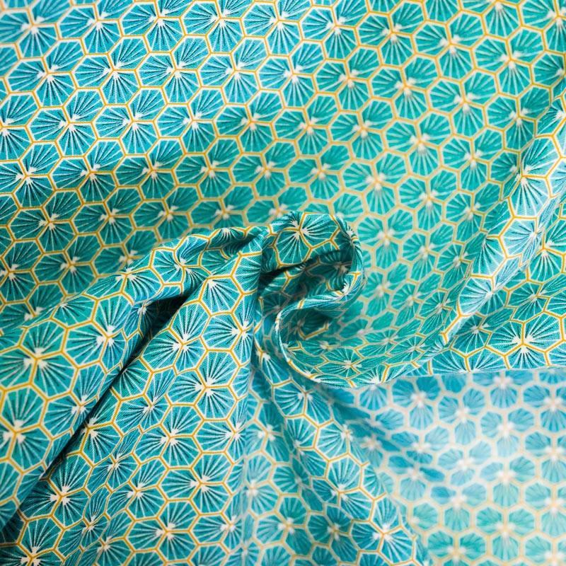 Coton bleu motif trèfle riad