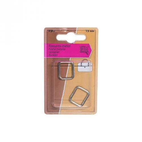 Passants métal argent X2 15mm