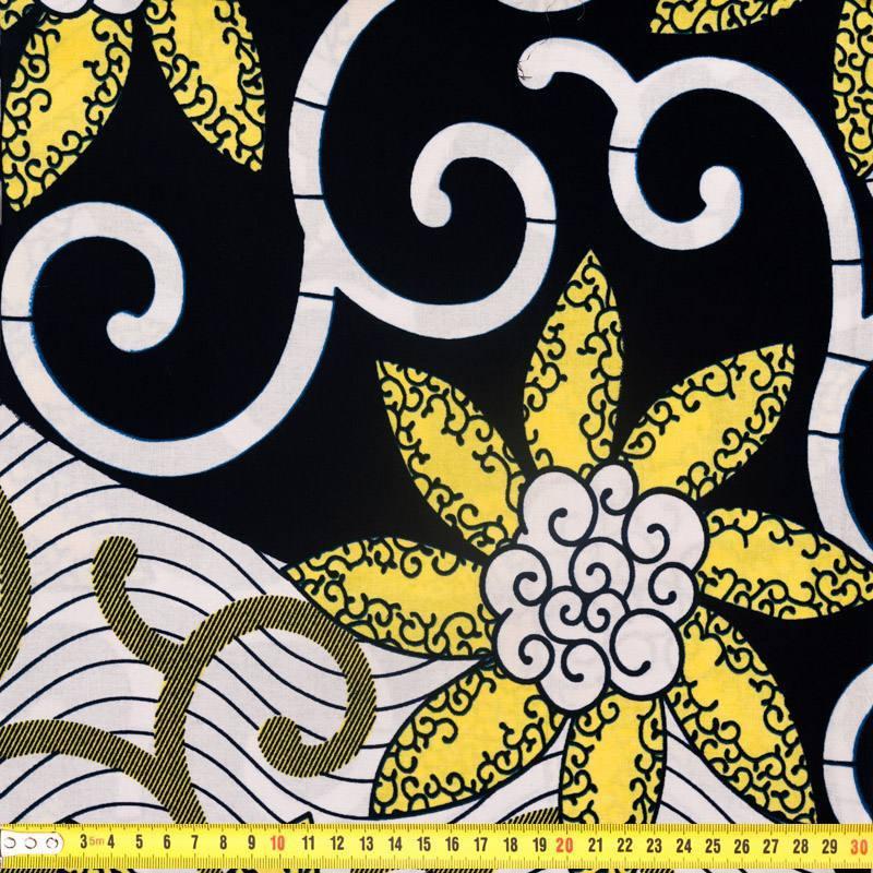 Wax - Tissu africain marine et blanc fleurs beige 299