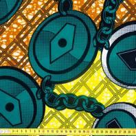 Wax - Tissu africain chaine vert émeraude 294