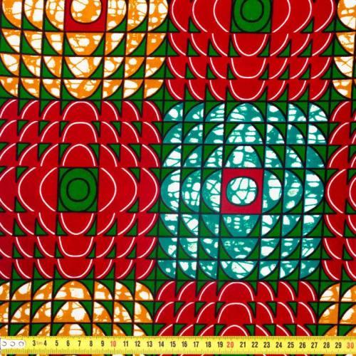 Wax - Tissu africain bordeaux motif géométrique 323