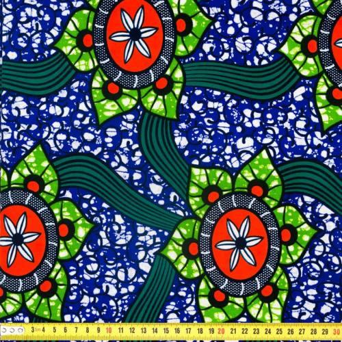 Wax - Tissu africain violet motif fleurs des îles 305