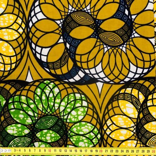 Wax - Tissu africain vert olive motif spirale 314