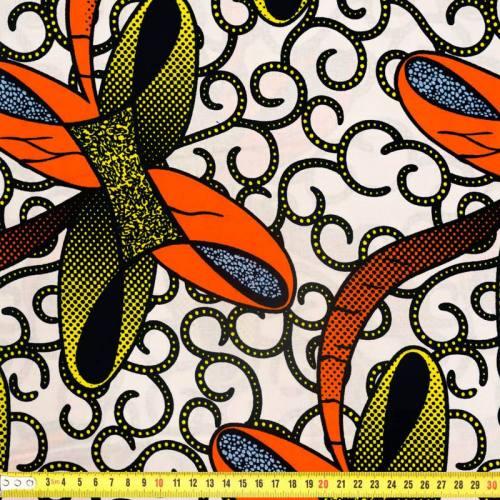 Wax - Tissu africain blanc motif orange et jaune 315