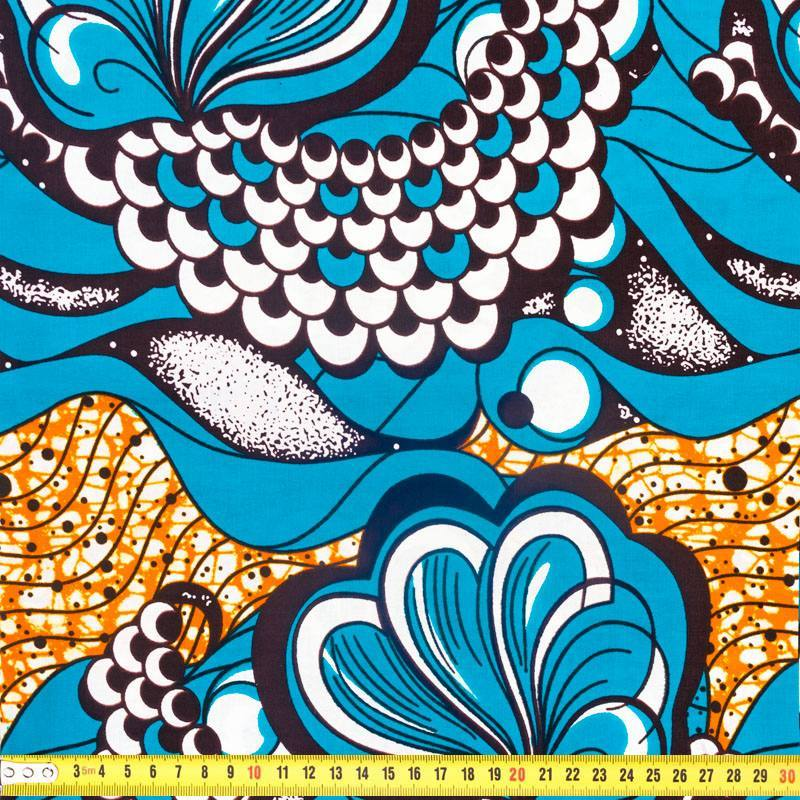 Wax - Tissu africain bleu et orange 296