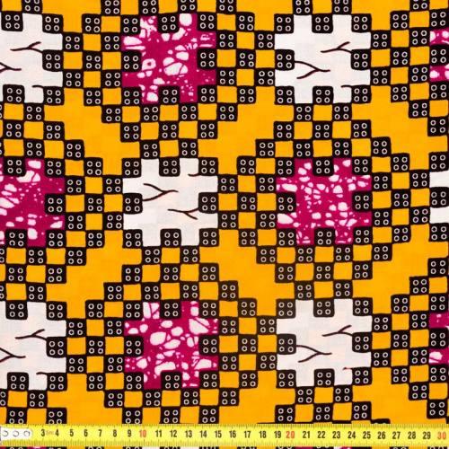 Wax - Tissu africain jaune safran motif blanc et fuchsia 322