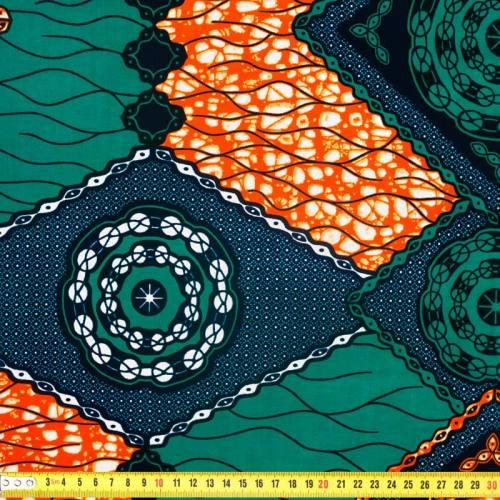 Wax - Tissu africain vert émeraude et orange 303
