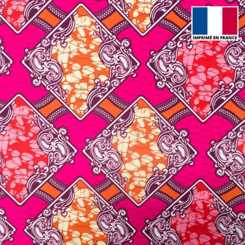 Lycra rose imprimé wax triangle arabesque rouge et orange