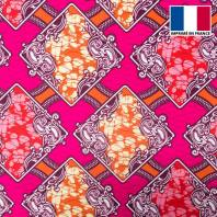 Lycra rose imprimé wax triangle arabesque rouge et orange