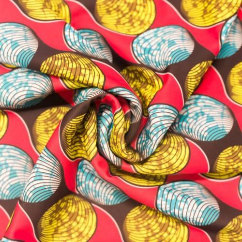 Lycra rose imprimé wax forme bleue et jaune