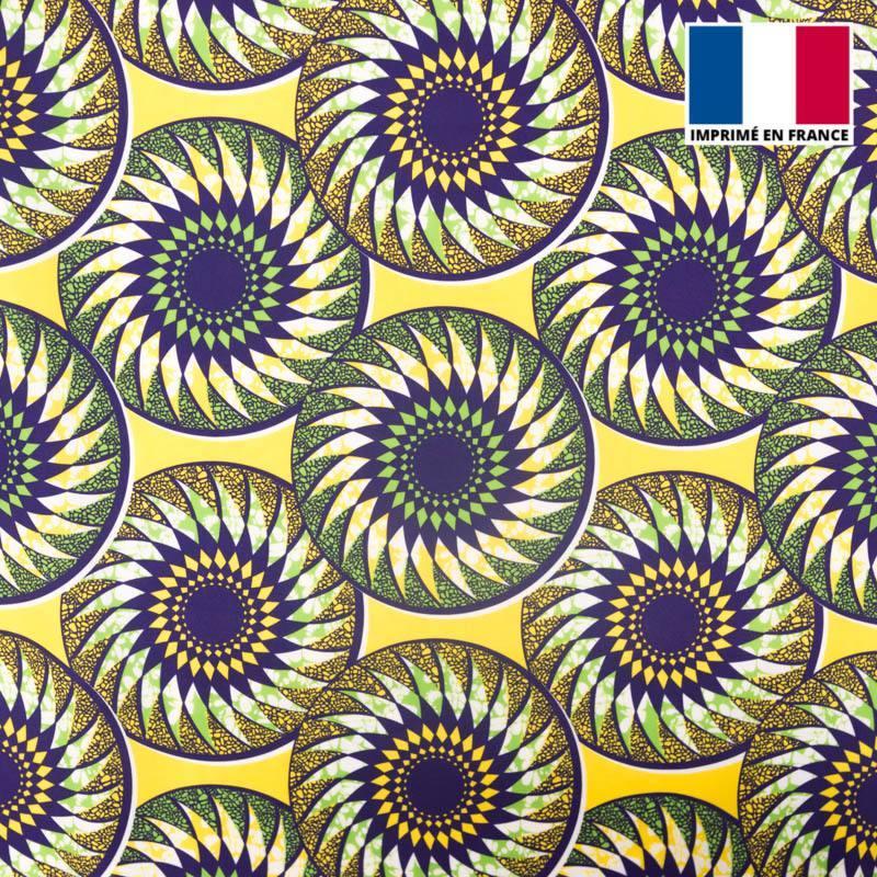 Lycra jaune imprimé wax mandala vert et violet
