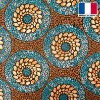 Lycra orange imprimé wax rond bleu et orange