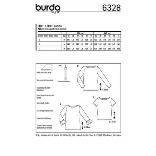 Patron Burda 6328 : T-shirt Taille : 34-44