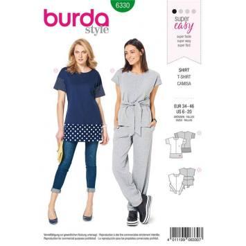 Patron Burda 6330 : T-shirt Taille : 34-46
