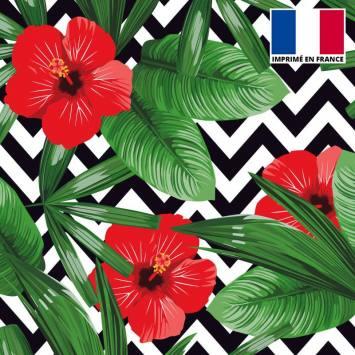 Velours ras imprimé chevron et fleur rouge