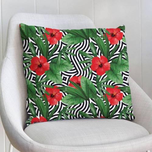 Velours ras imprimé vague et fleur rouge