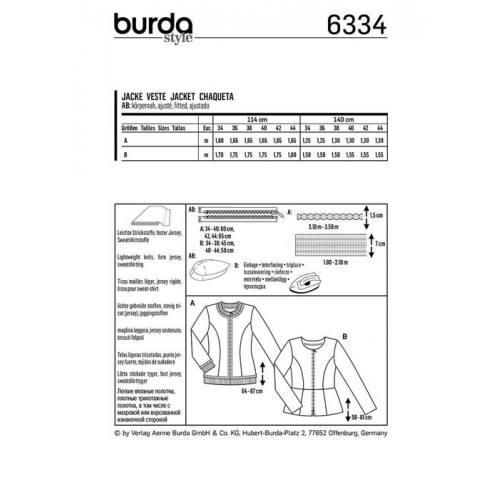 Patron Burda 6334 : Veste Taille : 34-44
