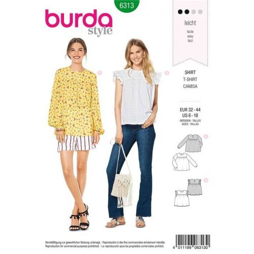 Patron Burda 6313 : T-shirt Taille : 32-44