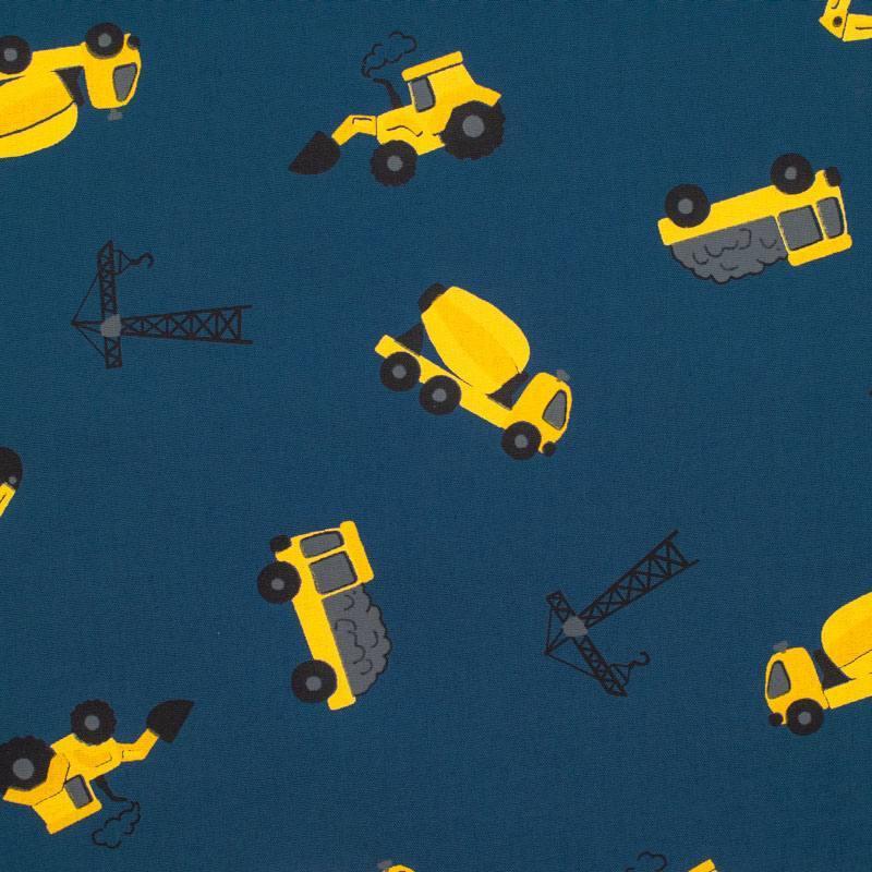 Popeline de coton bleu marine imprimée camion de chantier