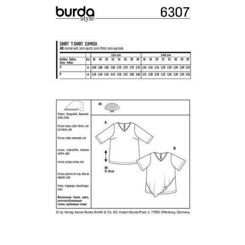 Patron Burda 6307 : T-shirt Taille : 46-60