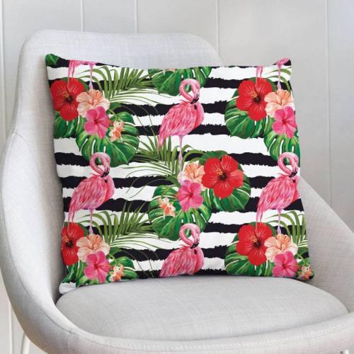 Velours ras imprimé flamant rose et fleur d'hibiscus