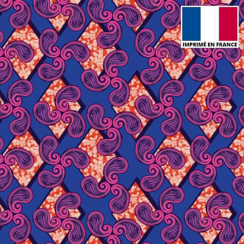 Velours ras imprimé wax losange et spirale violet et orange