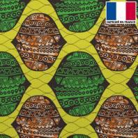 Velours ras imprimé wax jaune orange et vert