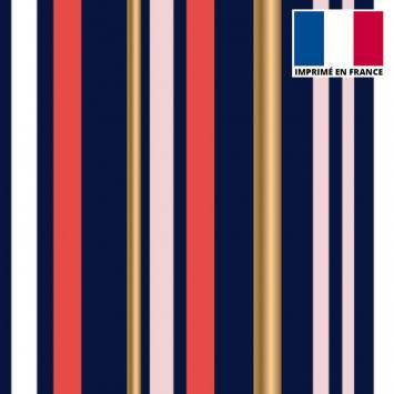 Tissu scuba bleu imprimé rayure rouge et or