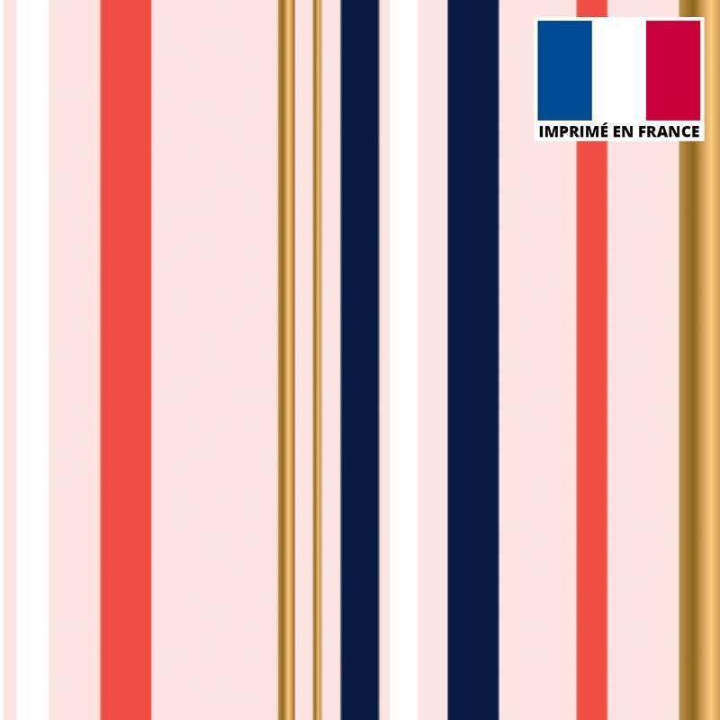 Tissu scuba rose imprimé rayure rouge et or