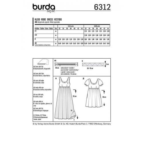 Patron Burda 6312 : Robe Taille : 32-44